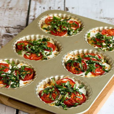 Crustless Tomato-Basil Breakfast Tarts with Mozzarella and Goat Cheese