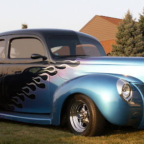 Hot Rod by Diane Butler - Transportation Automobiles ( car, flames, rod, blue, hot, black )