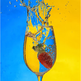 strawberry splash by Michael Germishuys - Abstract Water Drops & Splashes ( water, flash, red, blue, fruite splash photography, still life, yellow, colours )