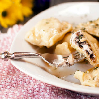 Mushroom and Goat Cheese Ravioli with Brown Butter Sauce