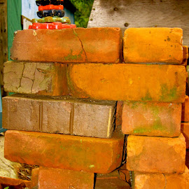 Old Bricks and Taps by Barbara MacInnis - Abstract Patterns ( colour, old, crack, stacking, bricks, tap )