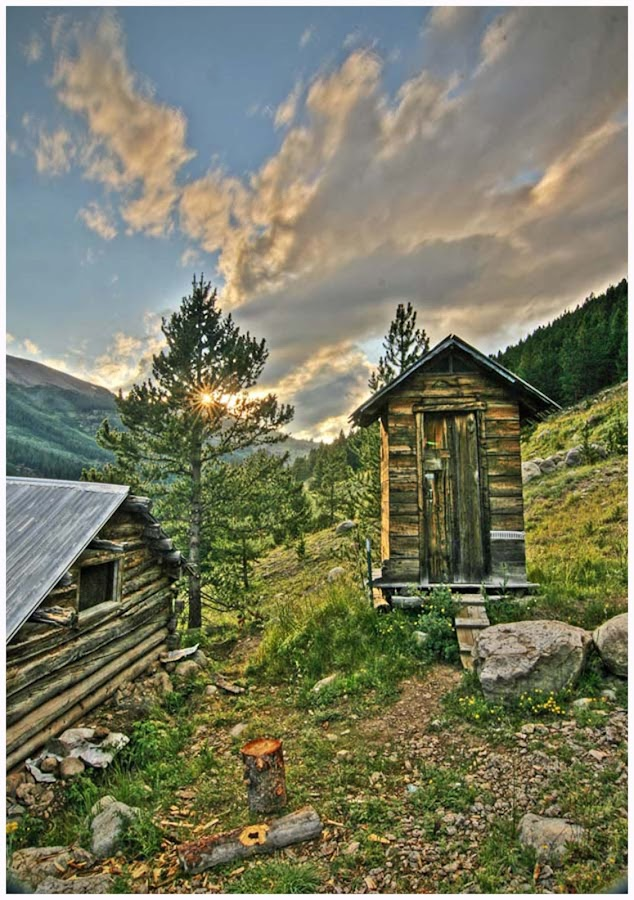 Sunset, Indepence, Colorado by George Kremer - Digital Art Places ( clouds, mountains, hdr, sunset, rocky mountains, colorado, ghost town, outhouse, rockies, sun flare, log cabin, aspen )