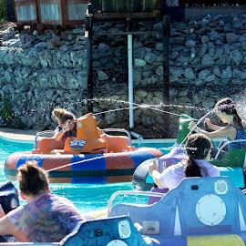 water battle by Petrina Grimes - Babies & Children Children Candids ( water, girls, battle, summer, four, KidsOfSummer )