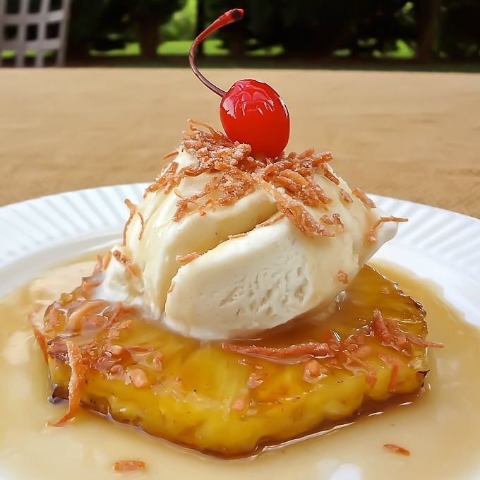 Grilled Pineapple with Ice Cream, Rum Sauce and Toasted Coconut Recipe ...