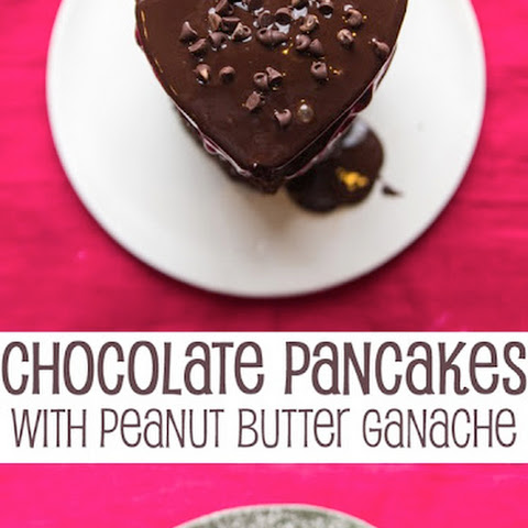 Chocolate Pancakes with Peanut Butter Ganache