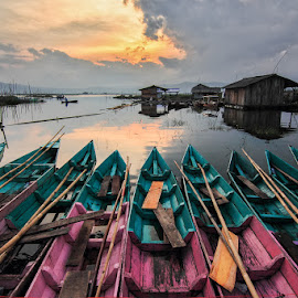 We Enjoy the Sunset by Franciscus Satriya Wicaksana - Landscapes Sunsets & Sunrises ( reflection, sky, colors, sunset, boats, landscape )