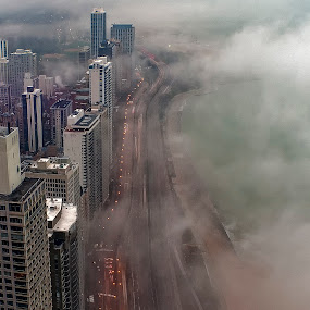 Spring in Chicago by John Harrison - City,  Street & Park  Skylines ( fog, lake shore drive, weather, lake, nikon, jnhphoto )