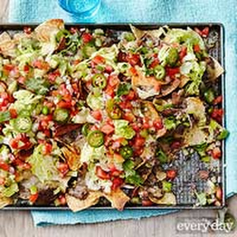 Black Bean Nachos with Tomato-Tomatillo Salad