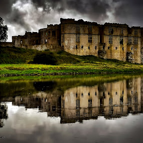 Carew Castle by Angel Weller - Buildings & Architecture Public & Historical ( clouds, reflection, moody, castle, waler )