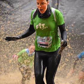 Fit Lady by Marco Bertamé - Sports & Fitness Other Sports ( water, muddy, splatter, splash, strong, green, woman, number, 1622, strongmanrun, running )