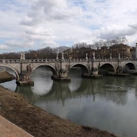 Pont St Angelo, Rome by Phil Collins - Buildings & Architecture Bridges & Suspended Structures ( water, rome, bridge, st angelo, pont, river )