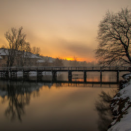 Otočec by Tomaž Mikec - City,  Street & Park  Vistas ( clouds, sky, winter, cold, sunset, snow, trees, castle, bridge, river )