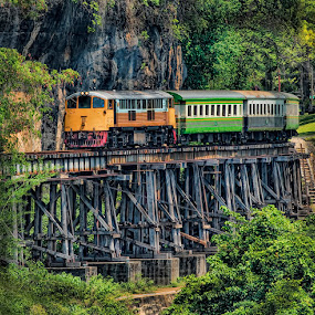 Death Railway by Lisa Coletto - Transportation Trains ( death railway, locomotive, train, bridge, trestle bridge,  )