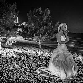 Alone by Lee Niven - Wedding Other ( model, wedding dress, kate, beach, cute, blonde, bridal, leeniven, woman, dress, wedding, dark, bride )