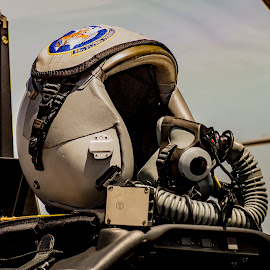 Waiting to Soar with the Eagles by Greg Bennett - Artistic Objects Technology Objects ( scott afb air show, plane, aircaft, centennial celebration, scott afb, pilot, il, t-6a texan ii, pilot trainer aircraft, helmet, trainer, air plane )