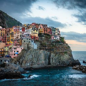 Manarola at sunset... by Lupu Radu - City,  Street & Park  Historic Districts ( water, clouds, cinque terre, twilight, old city, clifs, architecture, ligurian sea, city, sky, sunset, manarola, evening, italy, , #8rtcoMagazine )