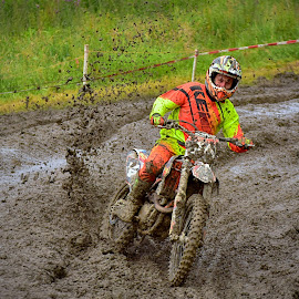 Mud Curve by Marco Bertamé - Sports & Fitness Motorsports ( curve, orange, splash, 44, speed, number, yellow, race, noise, mud, motocross, brown, accelerating )