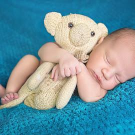 Hold on tight by Helena Lindgren - Babies & Children Babies ( newborn photography, blue sky, teddy bear, sleepy, baby boy )