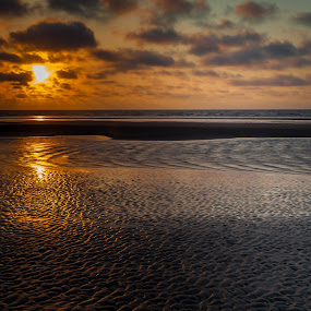 Golden sunset by Lieven Lema - Landscapes Sunsets & Sunrises ( 2013, sunset, beach, de panne, coast )