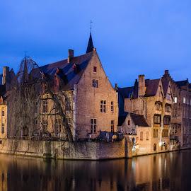 Bruges Canal Scene by Mark Wheeler - City,  Street & Park  Night