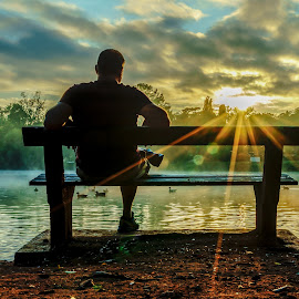 man watching the sunrise  by Peter Schoeman - People Street & Candids ( reflextions, clouds, water, sky, watching sunrise, trees, man, silhouttes, shadows, botanical gardens )