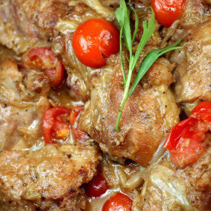 Braised Garlic Honey Mustard Chicken Thighs with Shallots