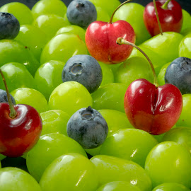 Grape Parade by Jim Downey - Food & Drink Fruits & Vegetables ( blueberry, blue, grapes, green red, cherries )