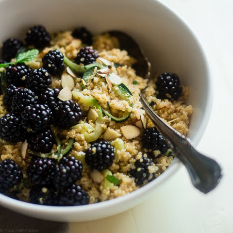 Cucumber Quinoa Salad Recipe with Blackberries, Mint and Almond Vinaigrette