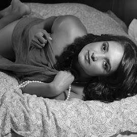 Waiting For You by Patty Mo - Nudes & Boudoir Boudoir ( b&w, black and white, boudoir, artistic nude, pmp, patty mo, boudoir photography, sexy, waiting for you, boudoir photos, pearls, patricia maureen photogrpahy, patricia maureen photos, classic,  )