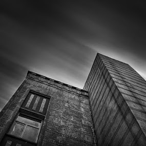Three Pyramids  by Allen Adnan - Buildings & Architecture Other Exteriors ( abstract, building, b&w, hdr, black & white, beautiful, fine art, windows, wide, photography, angle, allen adnan, shooting lines, hdri, sky, three, lines, perfect, surreal )
