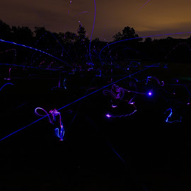 UFOs by William Rogers - Abstract Light Painting ( disc golf, light painting, leds, dacey field, long exposure )