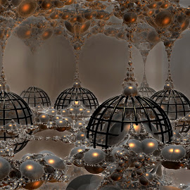 A Gathering Of Chandeliers by Rick Eskridge - Illustration Products & Objects ( fantasy, mb3d, objects, fractal, twisted brush )