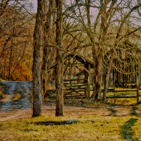 Afternoon Drive by Allen Crenshaw - Painting All Painting ( winter, barn, painting, rural, country )