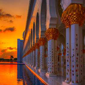Pillars of the Grand Mosque by Rafael Uy - Buildings & Architecture Other Exteriors ( grand mosque, cityscapes, urban landscapes, mosque, sunset, uae, abu dhabi, workship, vertical lines, pwc )
