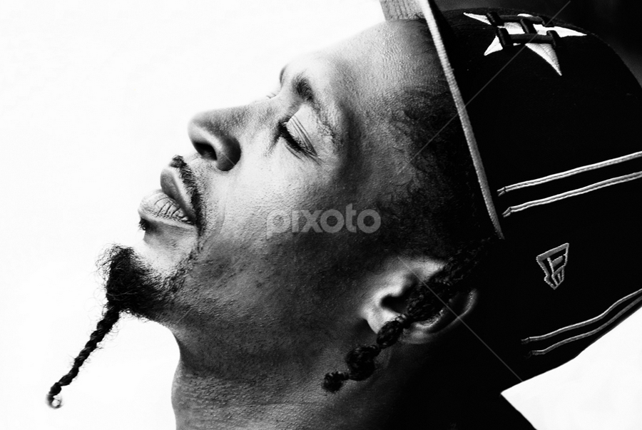 Calvin by Loredana  Smith - People Portraits of Men ( african american, sexy, side, black and white, male, thought, pwcprofiles-dq, man, reflect, portrait, black )