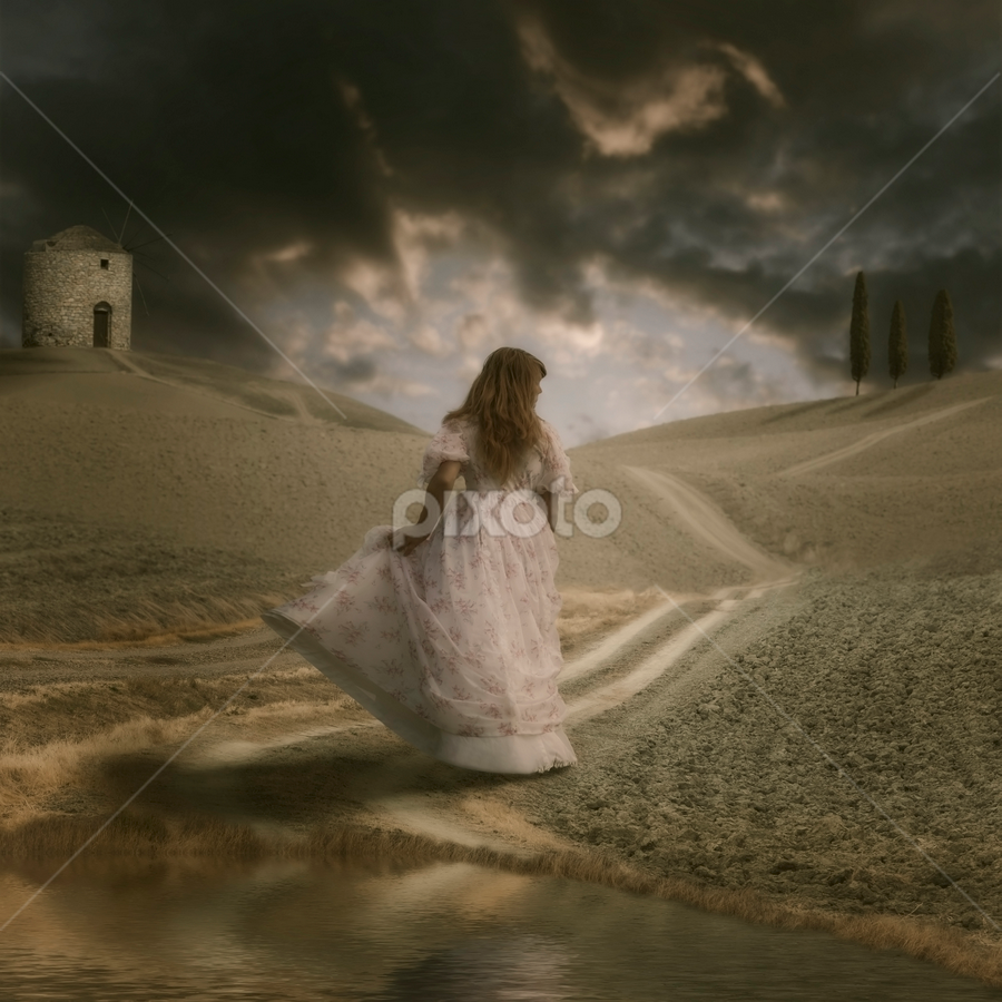 mediterranean scenery by Joana Kruse - People Fine Art ( countryside, person, italian, french, spain, caucasian, sky, tree, bleak, autumn, woman, three, gown, alone, frock, spanish, mysterious, lake, cypresses, rural, country, dress, trees, walk, floral, walking, reflection, garment, land, way, run, landscape, running, lane, anonymous, girl, mediterranean, path, cypress, france, italy, pond, evening, lonely, clouds, water, autumnal, vintage, elegance, romantic, field, female, elegant, route, fall, cloud, windmill )