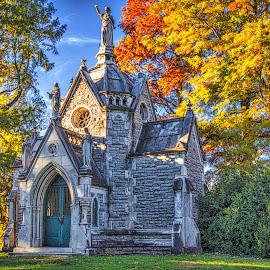 McCook Mausoleum by Pat Lasley - City,  Street & Park  Cemeteries ( spring grove, mausoleum, cemetery, grave, crypt )