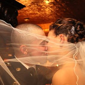 Ben and Krista  by Emily Schmidt - Wedding Bride & Groom ( kiss, wedding, bride and groom, veil, portrait,  )