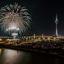 Fireworks at Macau by Carol Tan - Buildings & Architecture Bridges & Suspended Structures ( #bridge, #water, #fireworks, #macau, #bus, #sea, #macautower,  )