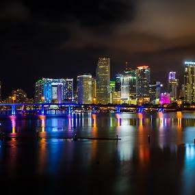 Night shot of Miami Skylines by Marcin Frąckiewicz - City,  Street & Park  Night ( night, skylines )
