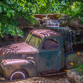 Stuck by Jim Harris - Transportation Automobiles ( chevy, chevy truck, waterscape, waterfall, antique truck, abandoned )