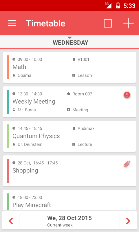 TimeTable++ Schedule Screenshot 1