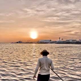 by Elmer Tendero - People Fine Art ( red sea, jeddah, sunset, sea, fisherman, saudi arabia )