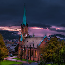 Bragernes Church by Geir Blom - Buildings & Architecture Places of Worship ( building, drammen, church, weather, city )