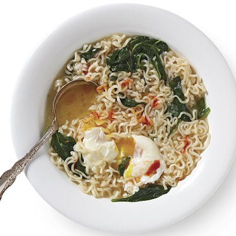 Ramen Noodle Soup with Spinach and Poached Eggs
