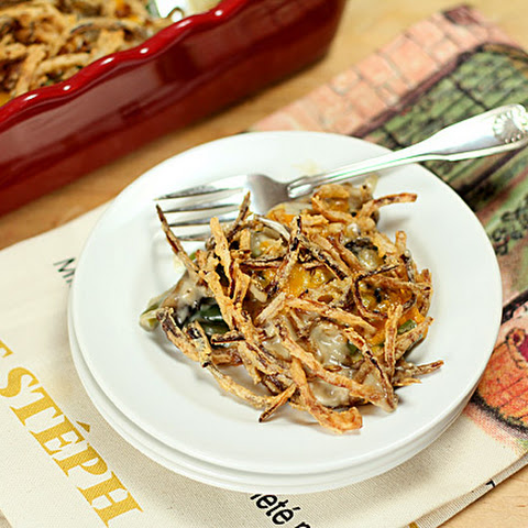 Homemade Green Bean and Mushroom Casserole with Fried Onion Strings