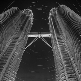 The Two Tower by Rudy Amin - City,  Street & Park  Skylines ( cityscapes, petronas twin towers, star trails, nightscapes, kuala lumpur )