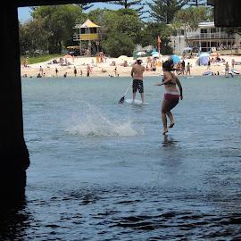 Beach Sports by Di Mc - Sports & Fitness Swimming ( water, swim, sea, paddle board, ocean, beach, bridge, jump )