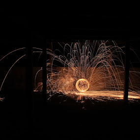 Grand Ball Room by Graeme Garton - Abstract Light Painting ( ball, light painting, wire wool, fireworks, warehouse, fire )