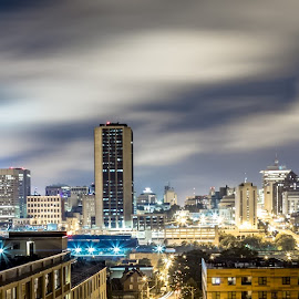 Looking over City Panoramic  by Todd Crenshaw - City,  Street & Park  Skylines ( clouds, night photography, richmond, virginia, long exposure, night, panoramic, city, nightscape )